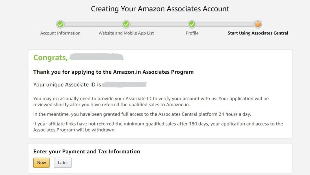 Final setup for amazon associate account.