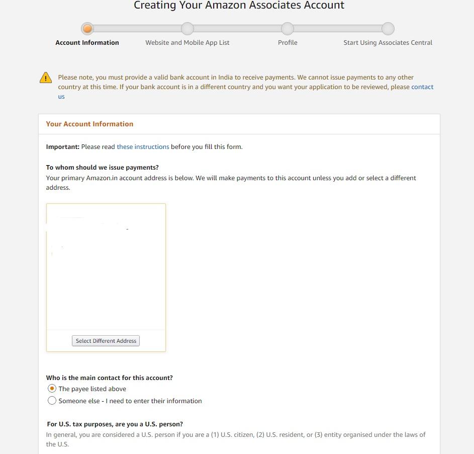 Conform address for an affiliate associate