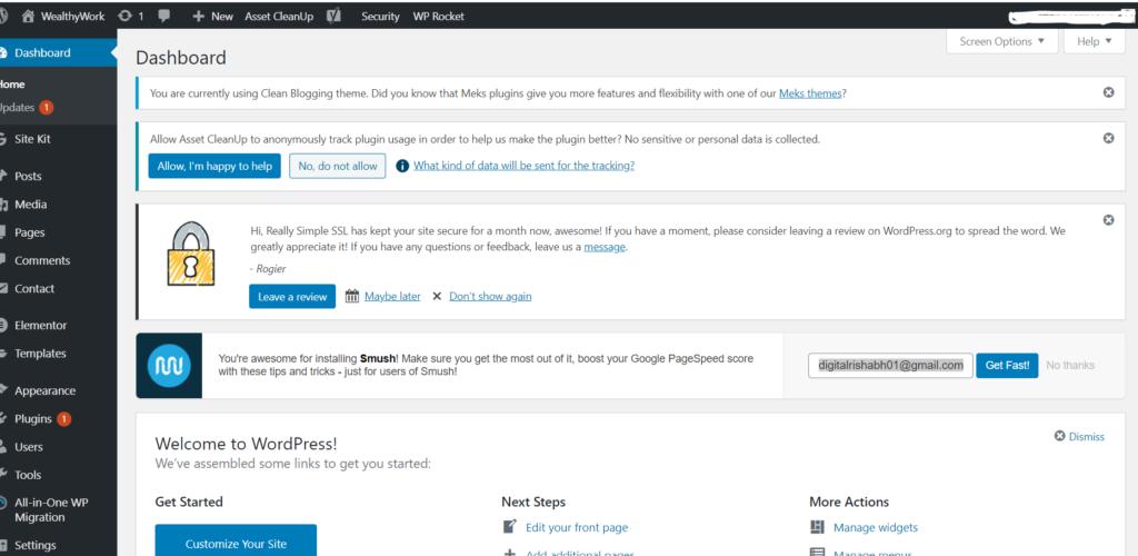 WordPress website dashboard demo