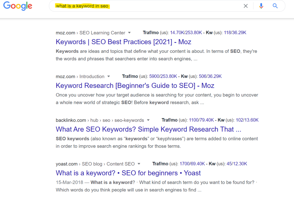 what is a keyword and how to search in google