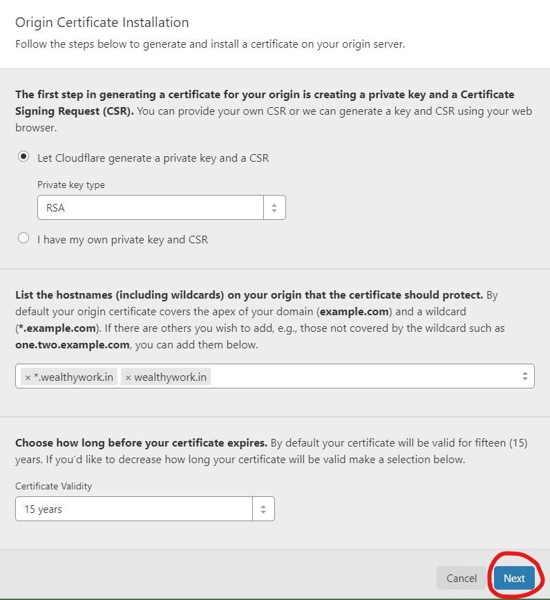 Origin certificate installation by cloudflare.