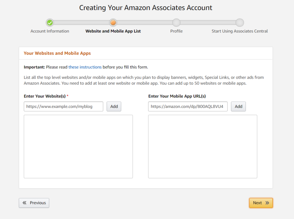 Enter your website name for using amazon products