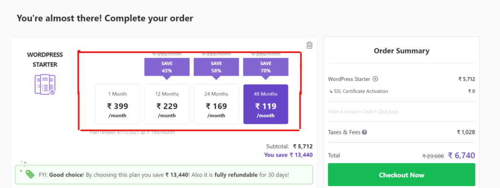 Now select yearly planning to start a wordpress blog.