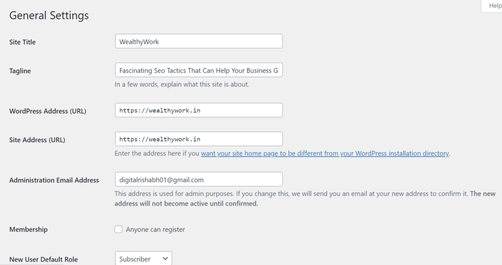 WordPress blog general setting.