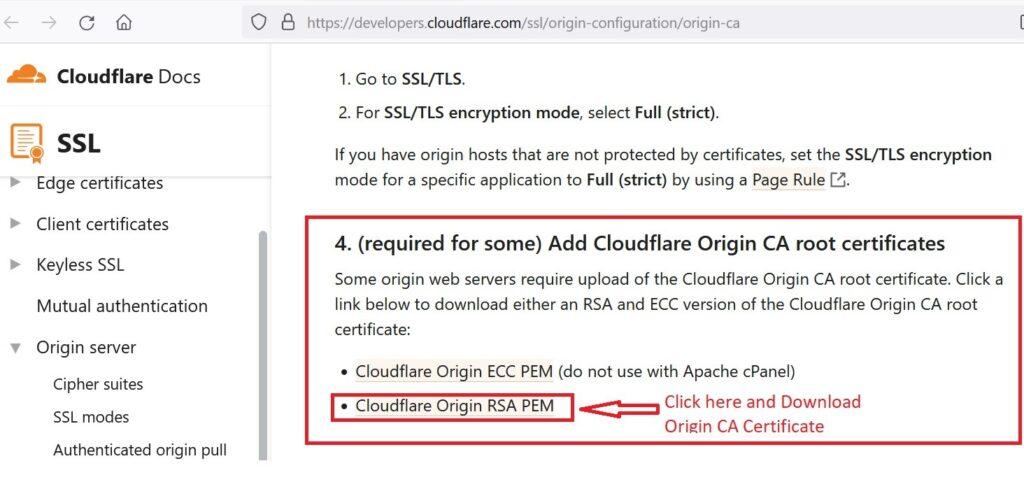 Get origin Ca certificate.