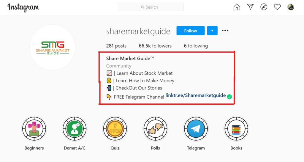 Instagram page stock market.