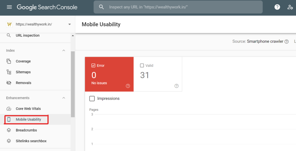 Mobile friendliness with search console