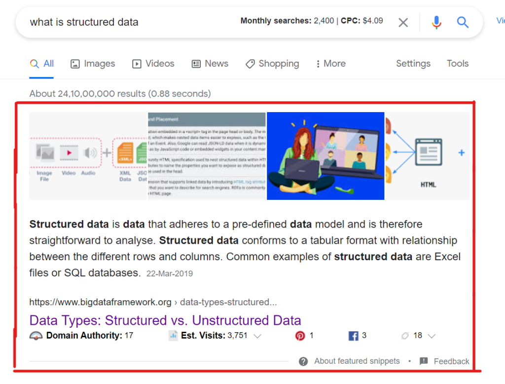 Google snippet using structured data