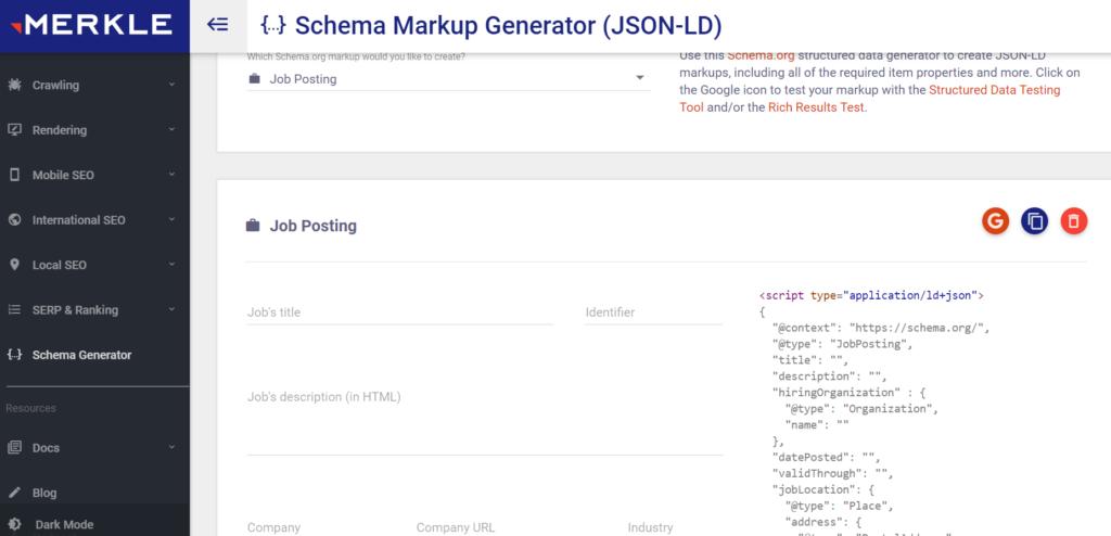 Job posting structured data