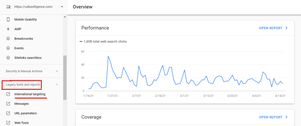 In search console click on International targeting