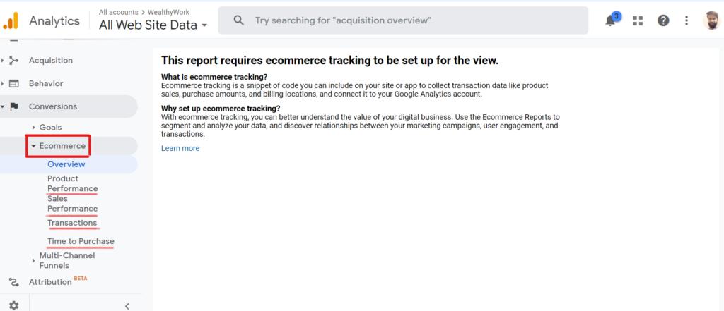 Ecommerce setup in google analytics