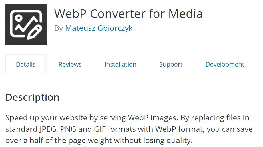 WebP converter for media plugin