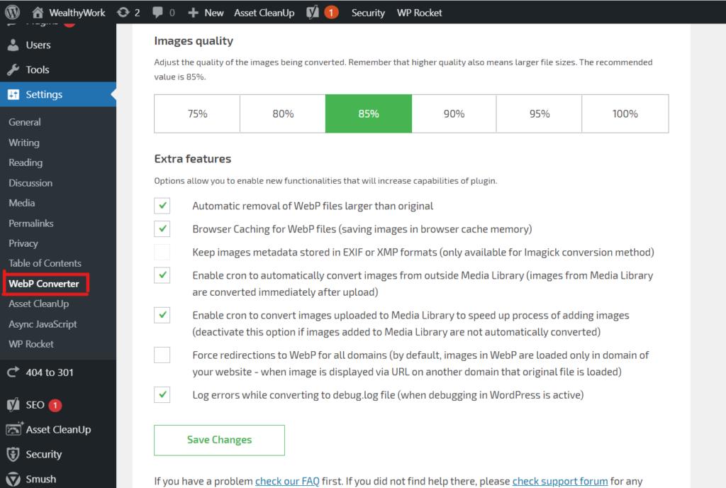 WebP converter Images quality