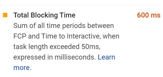 Total Blocking time(TBT)