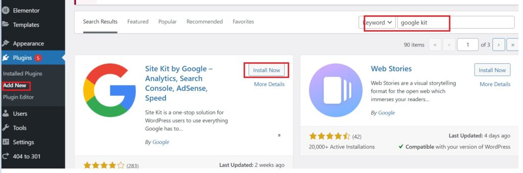 Downloading and install google site kit plugin.
