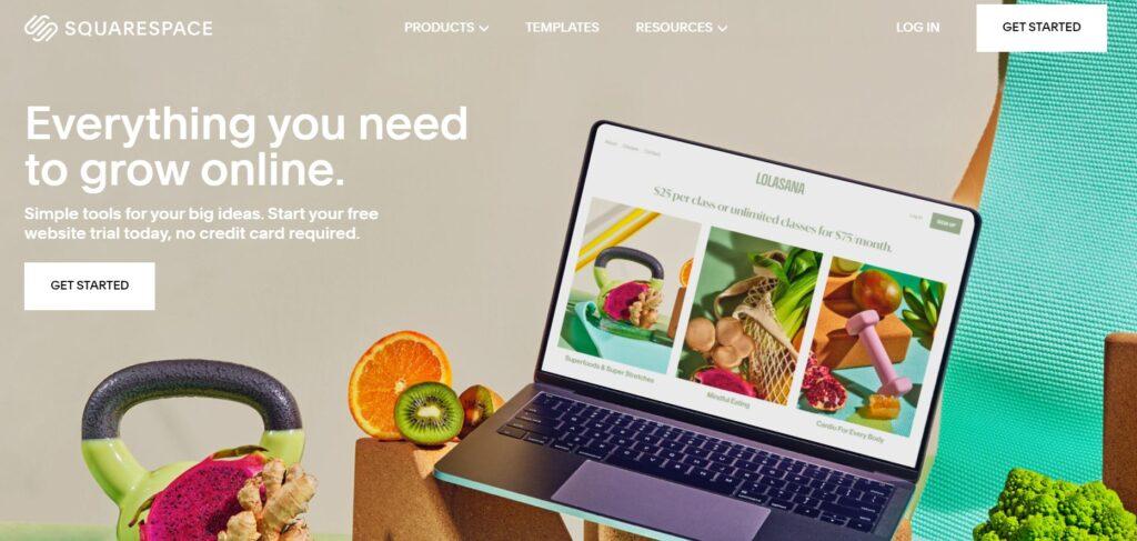 Squarespace blogging platform.