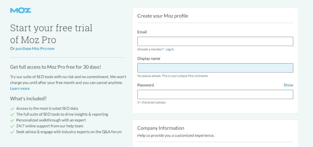 Moz keyword research tool.