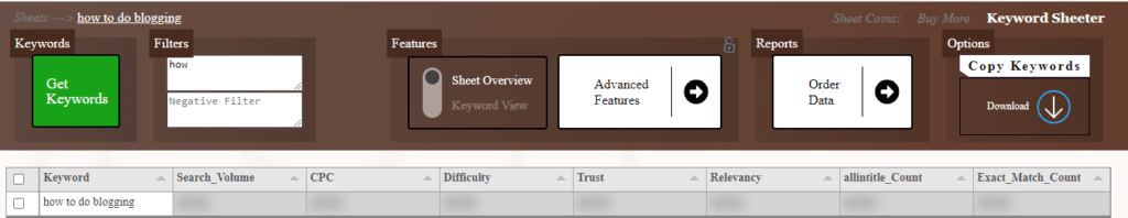 This images showing negative and positive filters for keyword research.