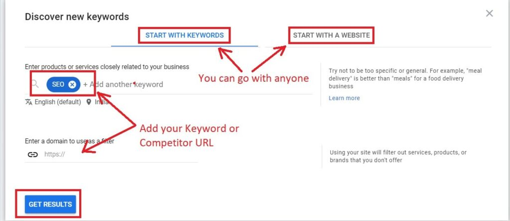 how to use keyword planner with new keywords.