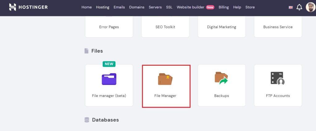 Open file manager form Hostinger server to install WordPress.