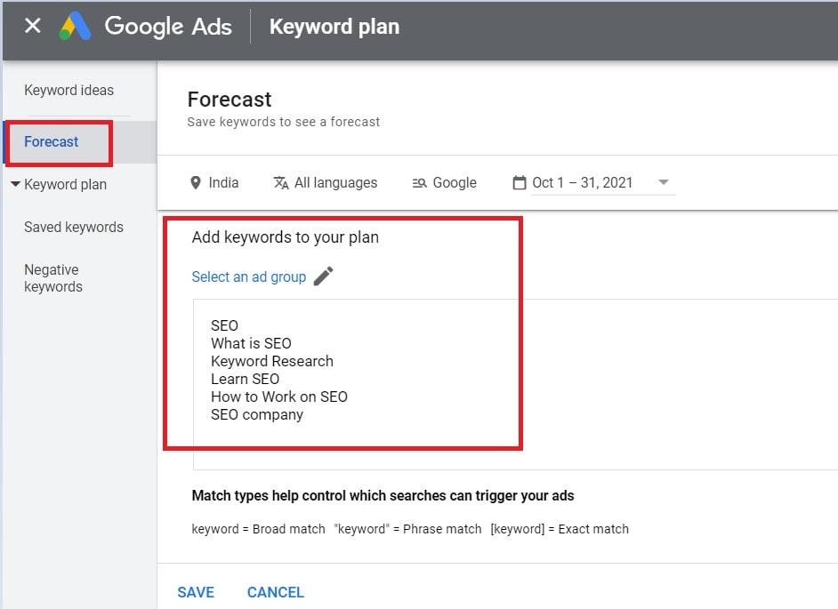 Forecast keyword research with google keyword planner.