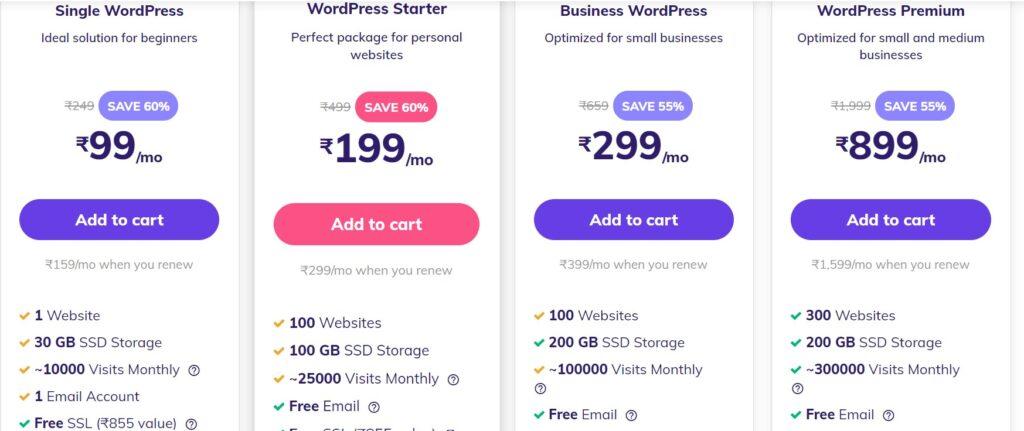 Hostinger pricing page