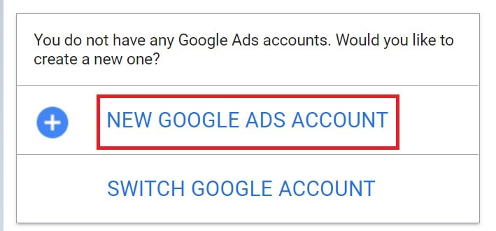 This image creating new google ad account.