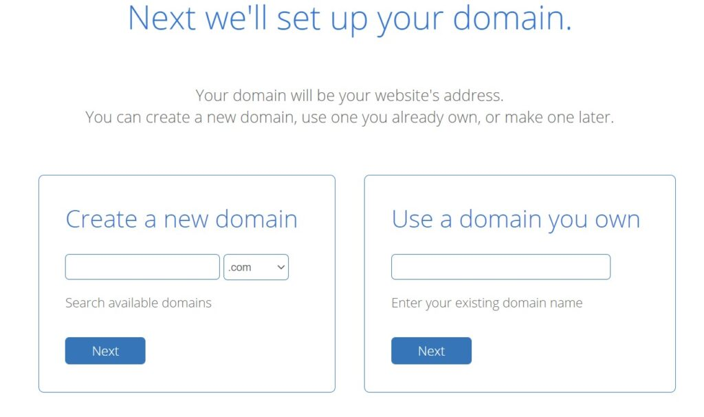 Creating a new domain from Bluehost