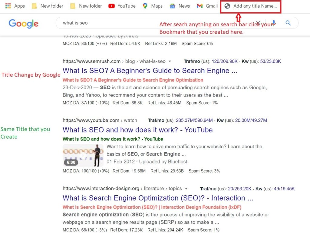 In this image Red title tags generated by google or Green title created by you for title tag generation policy.