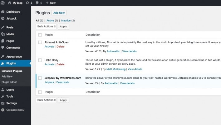 Installing plugins for WordPress.