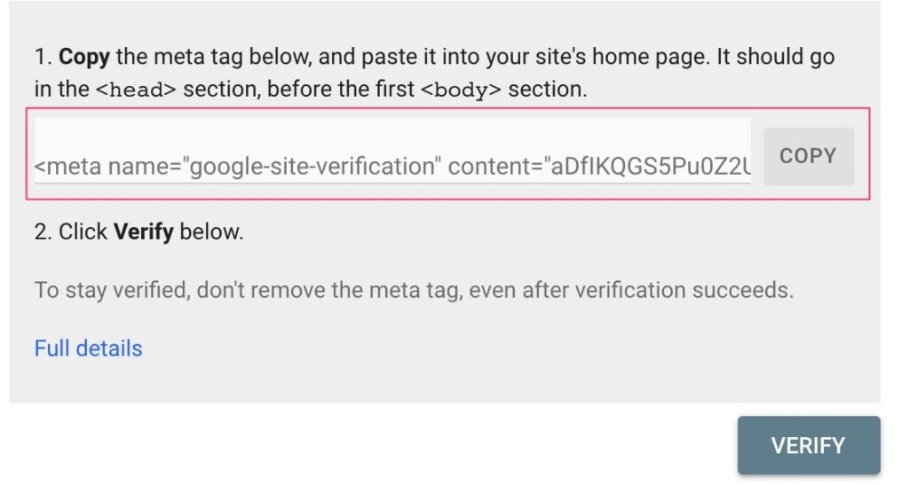 Google site verification with HTML Tag.