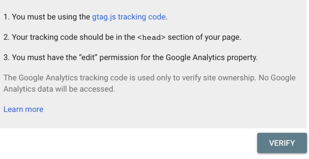 Site verification with Google analytics.