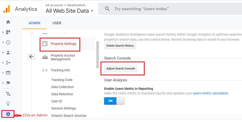 How to link Google analytics with search console.