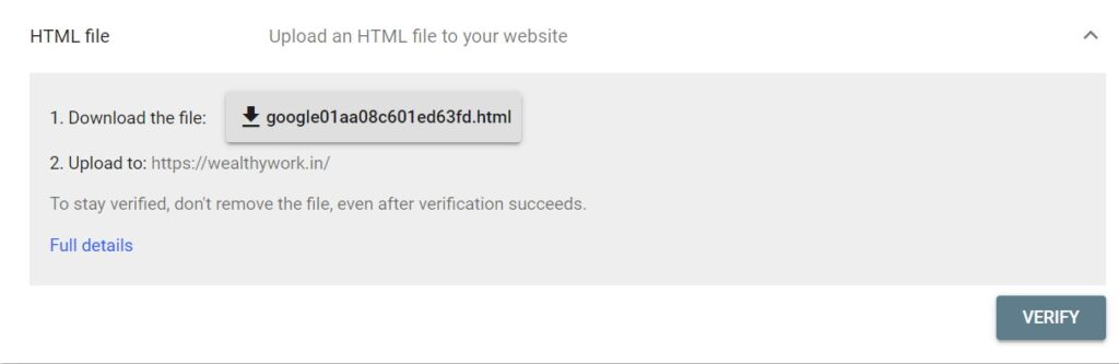 Website verification with HTML file.