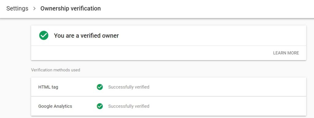 Owner verification in search console.