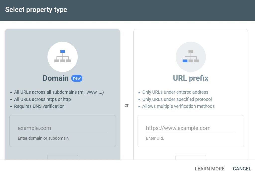 Here select Domain name or URL to verify site in Google search console.