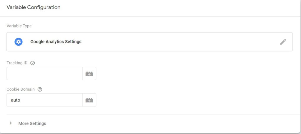 After selecting a new variable click on save. You will get another page here paste Google Analytics tracking ID.
