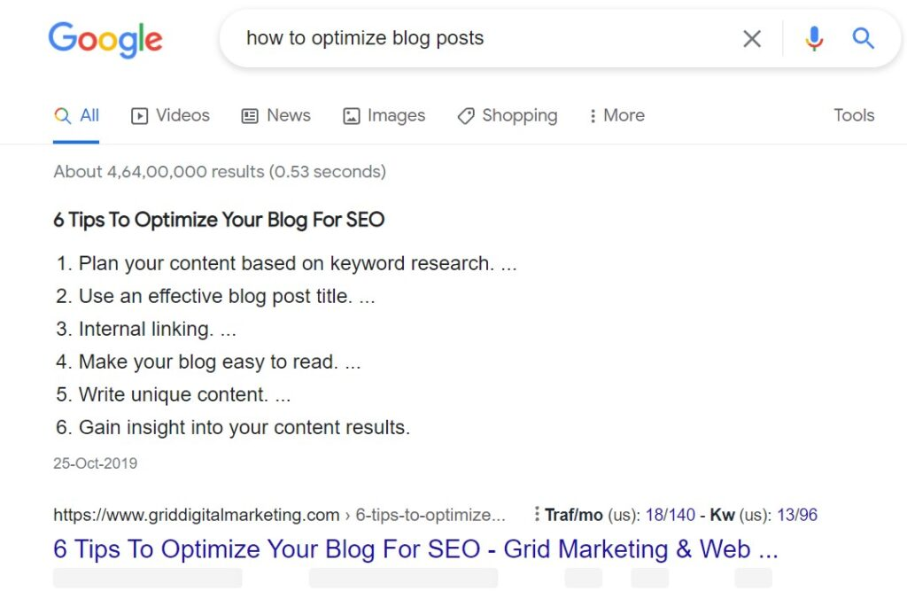 Optimize blog post for Featured snippet,