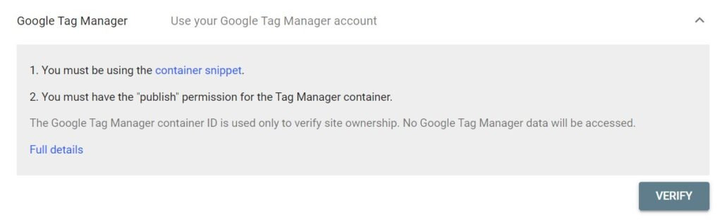 auto-verify your account if you are already using Google Tag Manager