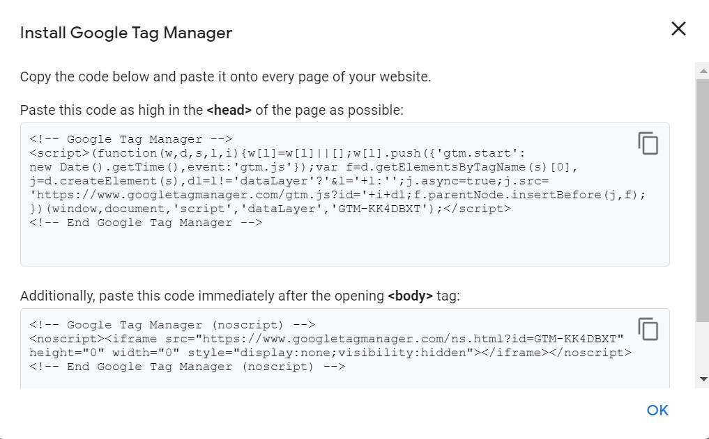 In this image showing how to add tag manager tracking code in heads section.