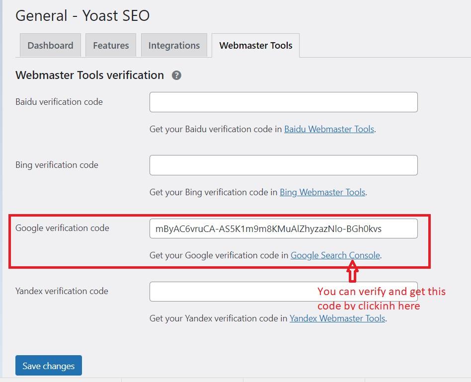 Verify Google verification with Yoast SEO.
