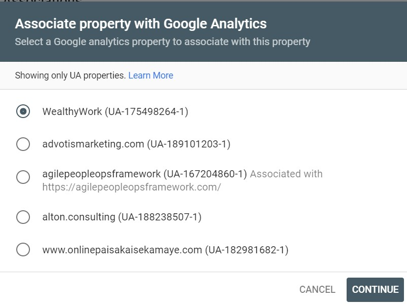 To add website in search console select your property type.