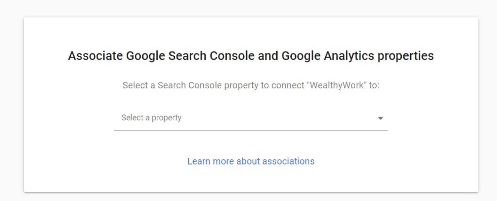 Associate google search console select property.