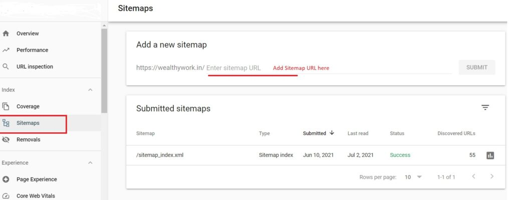 Adding sitemap link in search console.