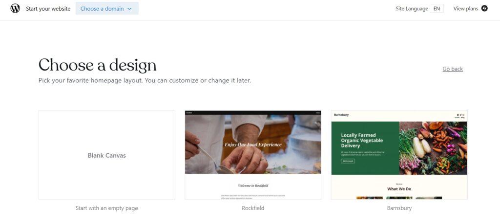 Choose design for start a edit a blog page.