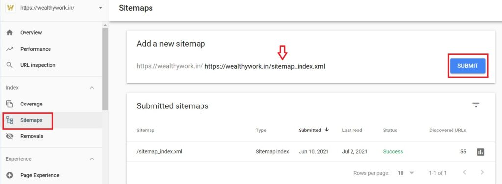 Adding sitemap url in search console for wordpress seo.