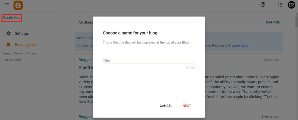 Create a blog and choose name of your blog.