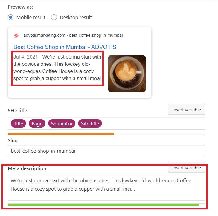 Add meta description using yoast seo.