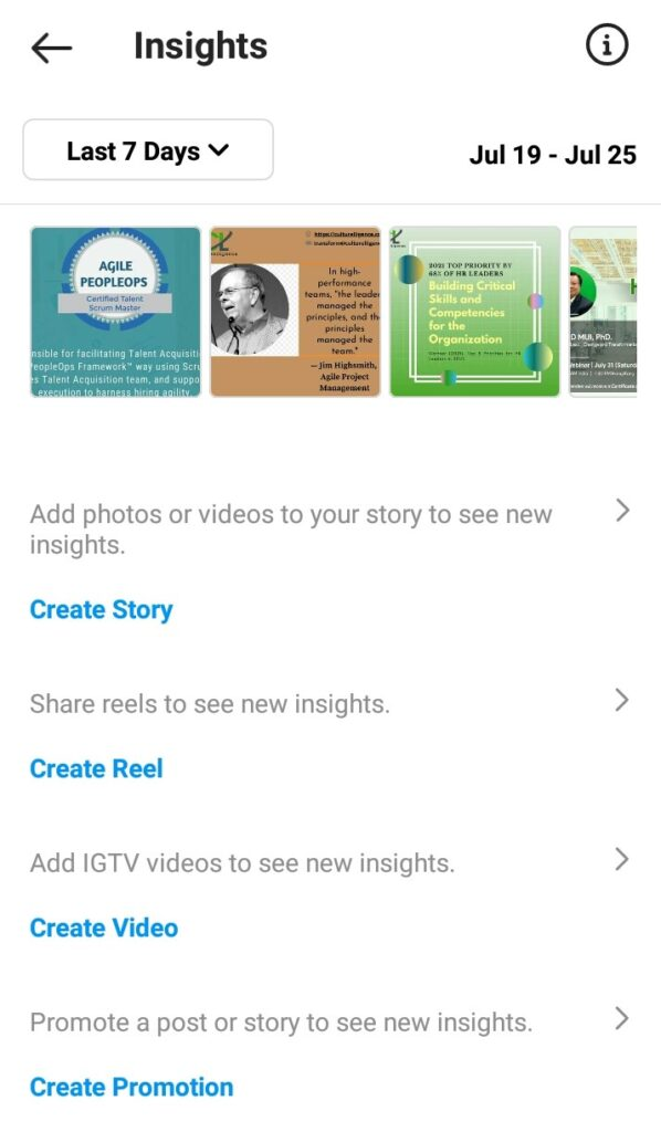 Using Instagram insight you can add story, igtv, reel and videos.