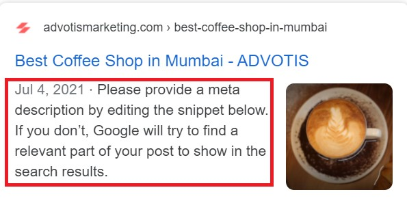 Meta description capture by google from our content.